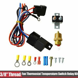 3 8 Thread 175 185 Electric Engine Fan Thermostat Temperature Relay Switch Kit
