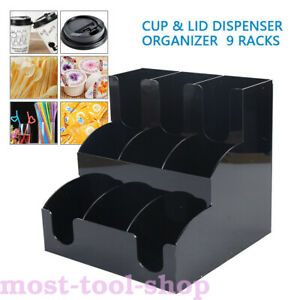 Cup And Lid Dispenser Holder Coffee Condiment Caddy Cup Rack Sugar Organizer
