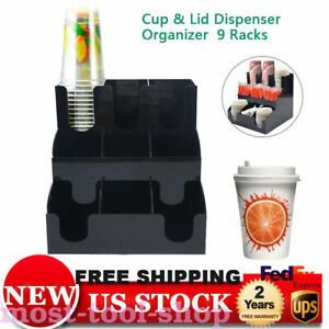 Coffee Cup Dispenser Condiment Caddy Lid Holder Counter Organizer Acrylic Hot