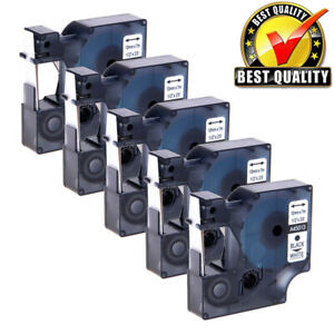 5 Compatible 45013 S0720530 For Dymo D1 Label Tape Cartridge Black On White 12mm
