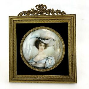 Antique French Miniature Female Painting Bronze Frame Artist Signed