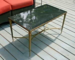 French Modern Gold Brass And Black Granite Rectangular Cocktail Coffee Table