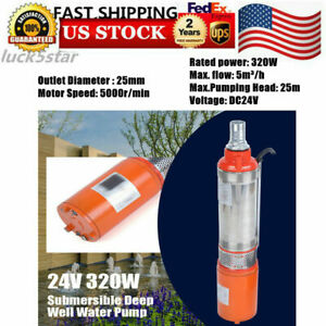 Submersible Water Pump Deep Well 5m H Dc 24v Max Lift 25m Solar Energy 320w Us