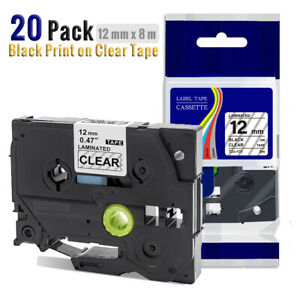 20pk Compatible Label Maker Tape 12mm For Brother P touch Tz 131 Tze 131 Pt d210