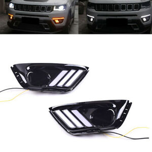 2pcs Led Drl Daytime Running Light front Fog Lights Fits Jeep Compass 2017 2019