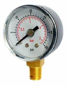 Low Pressure Gauge Air Oil Or Water 50mm 0 30 Psi 0 2 Bar 1 4 Bspt Bottom