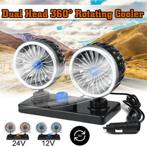 24v Dual Head Car Fan Portable Vehicle Truck 360 Rotatable Auto Cooling Cooler