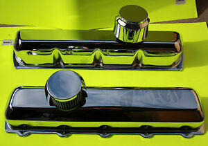 Oldsmobile Tall Chrome Baffled Valve Covers With Push In Breathers
