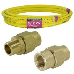 Corrugated Stainless Steel Pipe Mpt fpt Connection Kit Csst 1 2 X 25 Ft