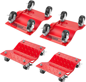 Rolling Tire Dolly 4 Pack Truck Car Vehicle Boat Trailer Wheel Steel Skates Red