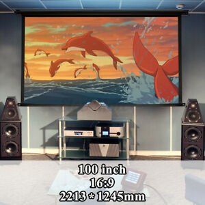 100 16 9 Projector Foldable Hd Screen Front Projection Home Theater 3d Movie