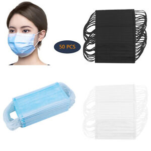 50x Disposable Face Mask Breathable Anti dust Fog Mouth Shield Nose Protection