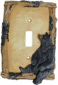 Black Bear on Log Single Switch Cover Cabin Lodge Style Home Décor $13.41