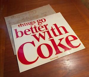Coca Cola 1960s Things Go Better With Coke Vending Machine Decal Wheaton IL LG