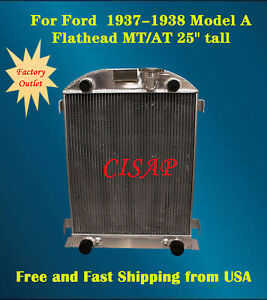 For Ford 1937 1938 Model A Flathead Mt at 25 Tall 2 44 3rows Aluminum Radiator