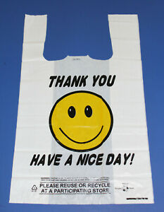 400ct Wholesale Plastic Shopping Bags Happy Face Hd 1 6 Big Size Bag 22mic