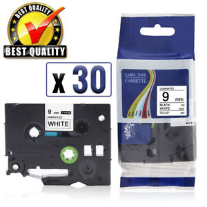 30pk Tze221 Tz 221 For Brother P touch D210 Laminated Label Maker Tape White 9mm