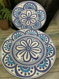 Stunning Deruta Pottery Matching Salad And Dinner Plate Hand Painted Blue