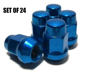 Set Of 24 Blue Bulge Acorn Lug Nuts 14x1 5 13 16 Hex