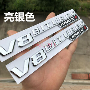 Chrome V8 Biturbo 4matic Fender Emblems Badges For Mercedes Benz Amg 4matic