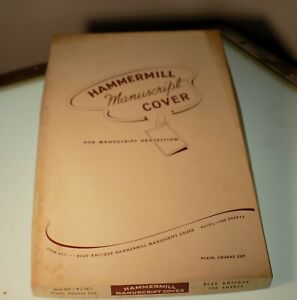 Vintage Hammermill Manuscript Cover Paper In Antique Blue 9 X 15 1 2