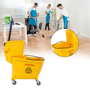 Samger 26 Quart Commercial Yellow Mop Bucket With Side Press Wringer With Wheels
