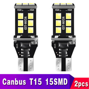 2x T15 Led Back Up Reverse Light Bulbs 6000k Xenon White Error Free W16w 921 912