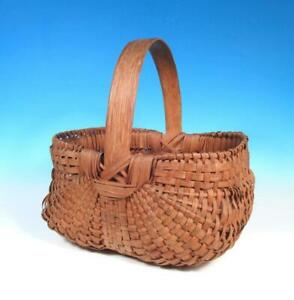 Southern Appalachia Shenandoan Valley Antique Oak Splint Gathering Basket