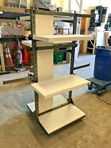 4 Way Clothing And Retail Display Rack White Shelves Silver Arms