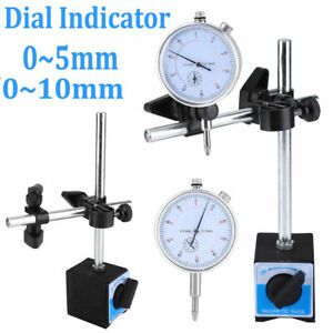 0 10mm Dial Test Indicator Accuracy 0 01mm 0 1 Percentile With Magnetic Base