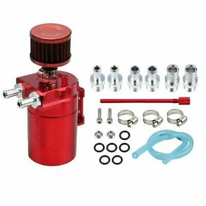 Red Oil Catch Can Tank Reservoir Breather W Filter Kit Cylinder Aluminum Engine