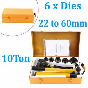 10 Ton Hydraulic Metal Hole Punch Knockout Set W 6 Dies Tool Hand Pump 22 60mm