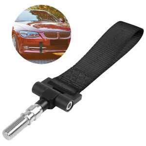 Universal Black High Strength Tow Strap Sports Racing Towing Hook Front Bumper