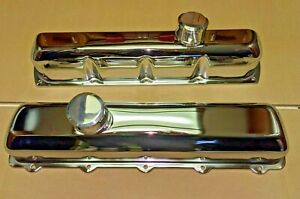 Oldsmobile Tall Chrome Stamp Steel Valve Covers With Billet Breathers 350 455