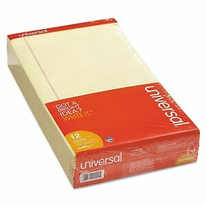 12 pack 8 5x14 Universal Writing Pads Perforated Note Legal Size Canary Notepad