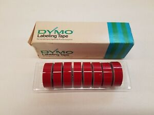 Vintage Dymo Labeling Tape 8 Rolls Gloss Red 158 02 New Old Stock 1 2 inch