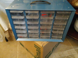 Vintage Akro mils 24 Drawer Small Parts Organizer Metal Cabinet W Plastic Draw