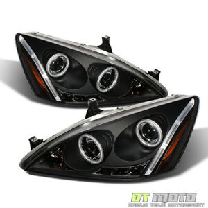 For Black 2003 2007 Honda Accord Led Ccfl Projector Headlights Lights Left right