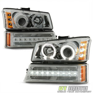 2003 2006 Chevy Silverado 1500 Avalanche Led Halo Headlights Drl Bumper Lights