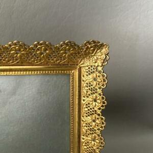 Vintage Gold Gilt Lace Filigree Convex Glass Miniature Table Top Picture Frame