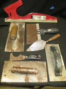 Vintage Lot Of 7 Pieces Concrete Tile Drywall Cement Hand Trowel Finishing Tools