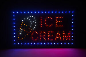 22 X 13 Ice Cream Led Lighted Open Neon Sign Business Sign
