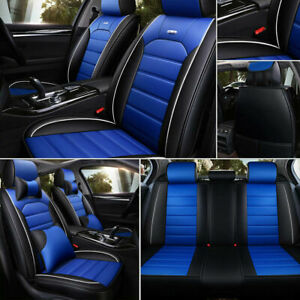 Us Car Seat Covers 5 Seat Full Set Pu Leather All Weather Universal Black Blue