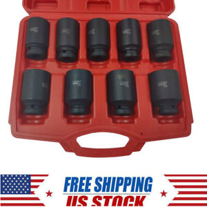 9pcs 29 38mm Deep Impact Socket Set 1 2 Drive Metric Axle Hub Nut Socket