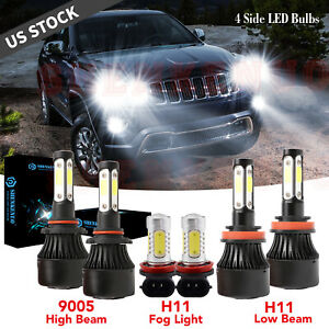 For Jeep Grand Cherokee 2014 2018 Combo 6x 4side 6000k Led Headlight Fog Bulbs
