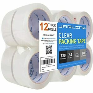 Clear Packing Tape 12 Rolls Heavy Duty Packaging For Shipping Moving Sealing