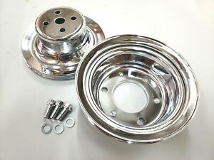 Sbf Small Block Ford 1 Groove Chrome Steel Pulley Kit 3 Bolt Crank 1964 5 66 V8