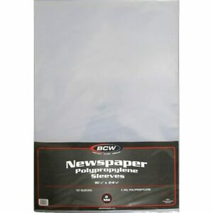 Bcw Newspaper 2 mil Polypropylene Sleeves 16 quot X 24 quot 50 sleeves Pack