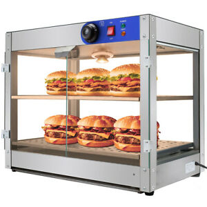 2 tier 750w Commercial Countertop Food Pizza Warmer Display Cabinet Case