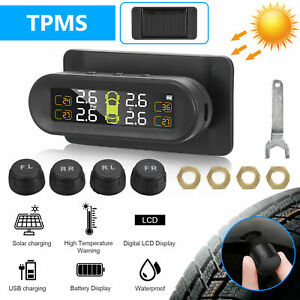 Usb Solar Wireless Car Tpms Tire Pressure Monitor System W 4 External Sensors